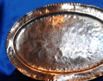 Vintage Hammered Copper Platter / Serving Tray