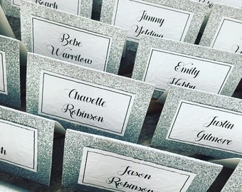 Glitter folded Table Placement Cards