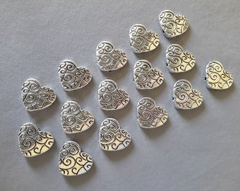 15 Pewter Heart Beads-Silver Tone Metal Beads-Two Holes on each side-Bracelet Supplies-Necklace Supplies-Jewelry Making Supplies-Kids Crafts