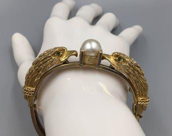 """Castlecliff Gold Eagle Pearl Bangle Bracelet - Vintage 1950s """"Animal Themes"""" Figural Hinged Bracelet"""