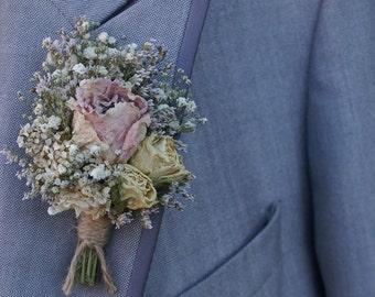 Blush Rose Garden Dried Flower Buttonhole