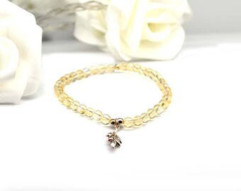 Citrine bracelet and silver leaf