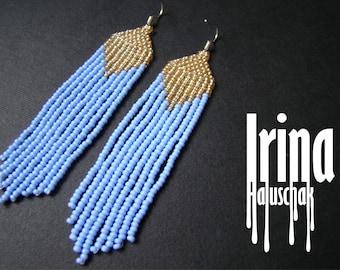 Lilac and light gold earrings. Beaded earrings, seed bead earrings, modern earrings, boho earrings, fringe earrings, beadwork jewelry tribal