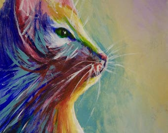 Colorful Cat Painting