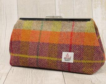 Clutch Bag / Harris Tweed / Evening Bag / Small Purse / Clutch Purse / Orange and Purple Check