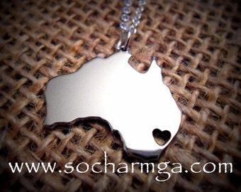 Australia Necklace Charm, Dainty AU Heart Pendant Handmade In America  German Silver
