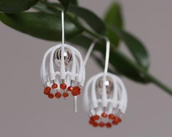 Chandelier Earrings, white large earrings, statement earrings, contemporary jewelry, winter jewelry, unique earrings, white big earrings
