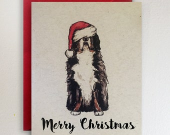 Bernese Mountain Dog - Merry Christmas Card / Santa Hat / Berner