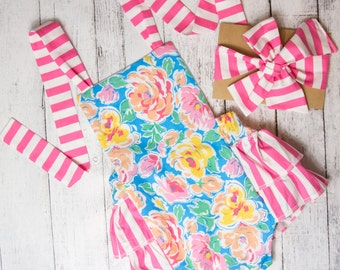 Baby Girl Romper, Floral and Stripes romper and head wrap set, blue floral romper, pink and white stripes, girls spring outfit
