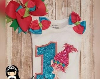 Poppy Troll Embroider birthday top, poppy birthday shirt, poppy troll, poppy dress, poppy shirt, poppy shirt set, poppy costume