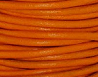 """2mm Round Leather, 2mm Round """"Orange"""" Leather Sold By The Yard Or Spool #9"""