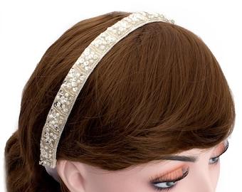 Wedding Bridal Couture Beads Tie Headband,Wedding Party Hair Band ,Spangle Headpiece,Bridesmaid Hair-WH10R08