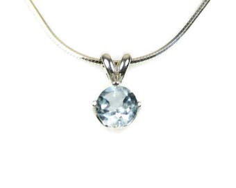 Blue Topaz Necklace Sterling Silver November Birthstone Round Blue Topaz Pendant Necklace Blue Gemstone Blue Topaz Jewelry 18 20 24 Chain