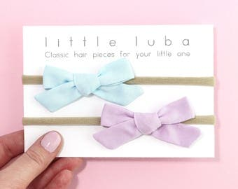 baby girl headband, newborn headband, baby headband, toddler headband, baby headbands, Newborn Baby Bow, Baby . SET OF 2 Baby Blue + Petunia