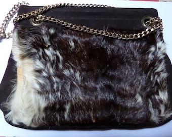 VINTAGE cow hide fur Cross Body Bag Brown Chain Shoulder strap 1970s
