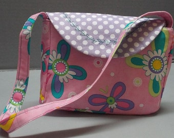 Toddler or Girls Purse or Tote Button Butterflies Fabric