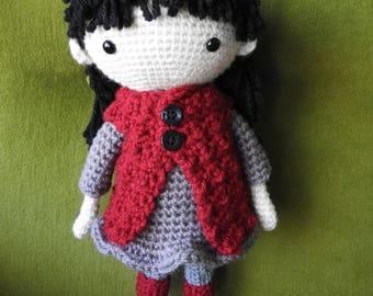 Handmade crochet doll! Gray/Maroon Vest Dress