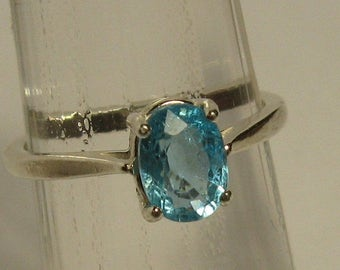 Natural paraiba blue apatite  1.11 ct & sterling silver 925 ring size 7