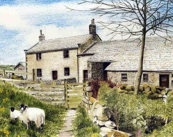 "Art Print: ""Moorside Farm"" -  A4 countryside print, farmhouse, sheep print, landscape, farm print, wall art, from a painting by Dave Marsh"