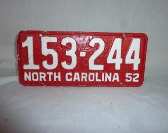 Vintage 1952 North Carolina License Plate