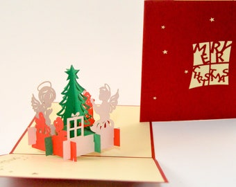 Christmas Tree Angel Praying Greeting Card  Presents Birds Chirping Merry Christmas