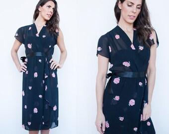 Sale 40% Off VTG   1970's   Black   Floral   Sheer   Flowy   Cascade   Dress   S/M