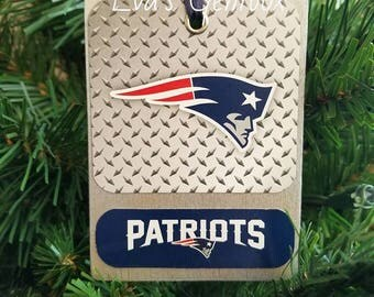 PATRIOTS Wood Christmas Tree Ornaments NFL Ornaments