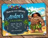 SALE 50% OFF Maui Moana Birthday Invitation Printable - Maui Birthday Theme - Moana Invitation for Girls and Boys - Maui Moana Celebration