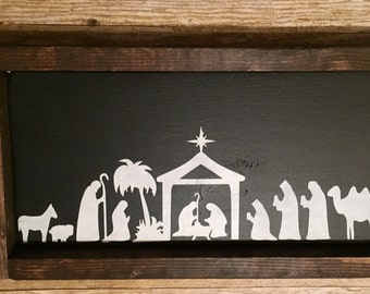 READY TO SHIP. Item as shown.Last minute gift. Wood Framed painted sign.Nativity sign.Christmas decor.Nativity sign