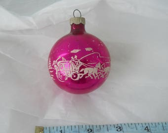 Vintage Mercury Glass Christmas Ornament Pink with Sleigh and Winter Scene Stenciled Shiny Brite
