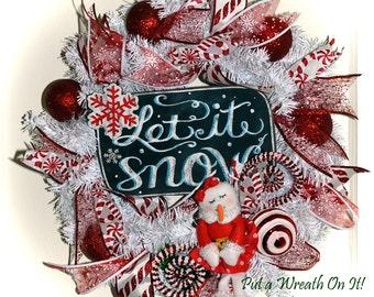Let it Snow Snow girl Christmas Wreath