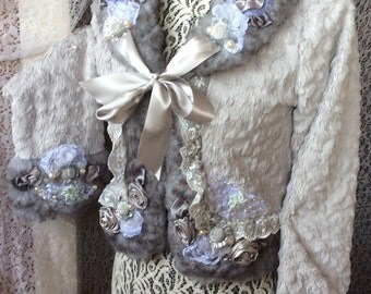Faux fur Marie Antoinette Style Gray Jacket Coat The Winter's Tale  Handcrafte upcycle sz S