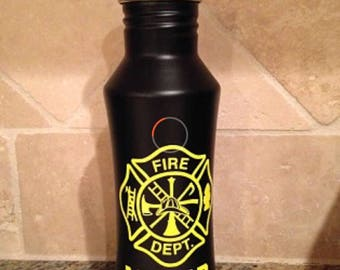 Custom fire fighter stainless steel water bottle
