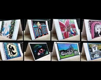 8 Notecards Greeting Handmade Art Cards with Original Artwork #QN73.74.76.80.77.78.79.75