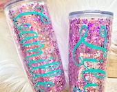 Personalized Pink Confetti Glitter Travel Tumbler, Travel Mug, Coffee Tumbler, Coffee Mug, Teacher Gift, 20oz