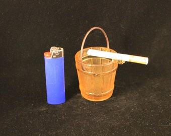 Ashtray Vintage Amber Glass Ash Bucket