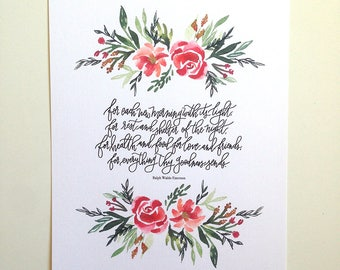 Prayer of Thanks -Ralph Waldo Emerson Hand Lettered Art Print