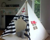Kids Teepee play tent 'Ahoy Matey Black' Pirate / Nautical teepee with poles