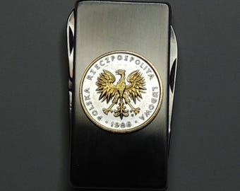 Polish Eagle - Gorgeous 2-Toned (Hand done) Gold on Silver Coin - Combination Knife and scissor Money clip