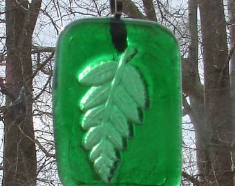 Green Fern Frond Leaf Tile Handmade Up-cycled Bottle Sun Catcher Ornament