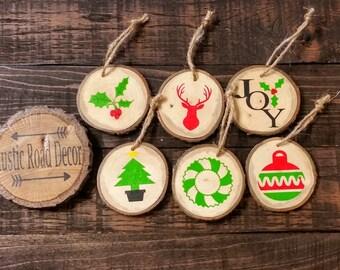 Wood Slice Ornaments, Christmas  Tree Ornaments, Rustic Christmas Decor, Rustic Christmas Ornaments, Ornament Set, Primitive Ornaments