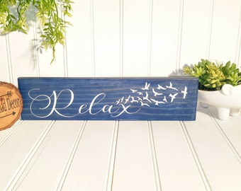 Relax Sign, Relax Wall Art, Relax Wood Wall Art, Bathroom Art, Bathroom Sign, Bathroom Wall Art, Navy Blue Wall Art, Bathroom Sign, Rustic