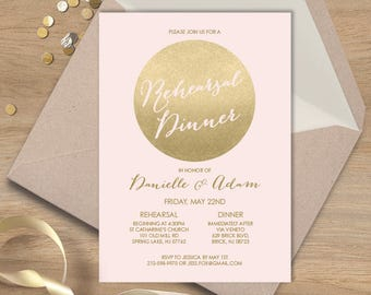 Blush and Gold Rehearsal Dinner Invitation / Metallic Gold and Blush / Faux Gold  ▷ Printed Wedding Invitations {or} Printable
