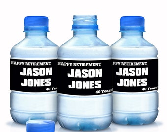 "Personalized Happy Retirement Water Bottle Labels - Select the quantity you need below in the ""Pricing & Quantity"" option tab"