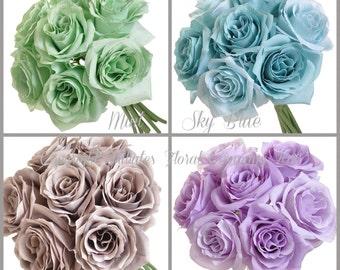 Open Rose Silk Wedding Bouquet - Silk Flower Wedding Bouquet