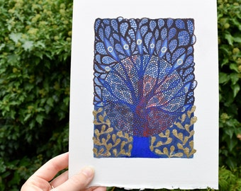 Tree, original painting, gouache on paper - Moon Tree with gold foliage - 17 x 12 cm