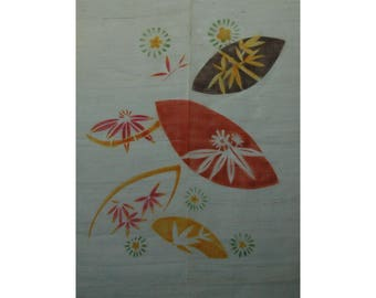 """traditional linen noren, door way curtain. HANABI (07DA52) 35""""W x 59""""L"""