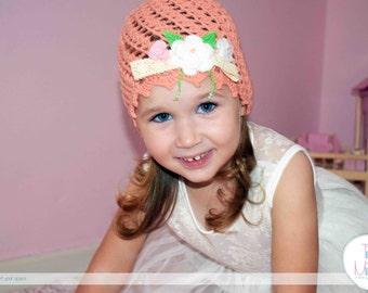 Winter Crochet Hat, Autumn Crochet Hat, Girls beanie hat, Crochet Baby Hat, Newborn Girl Hat, Peach Floral Hat, Toddler Hat, Crochet Hat