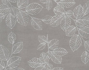 AU MAISON oilcloth Nordic Leaves Grey grey coated cotton 1 m