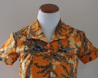 Vintage 1960s 60s Mod Shift Dress Orange Floral Size Medium M
